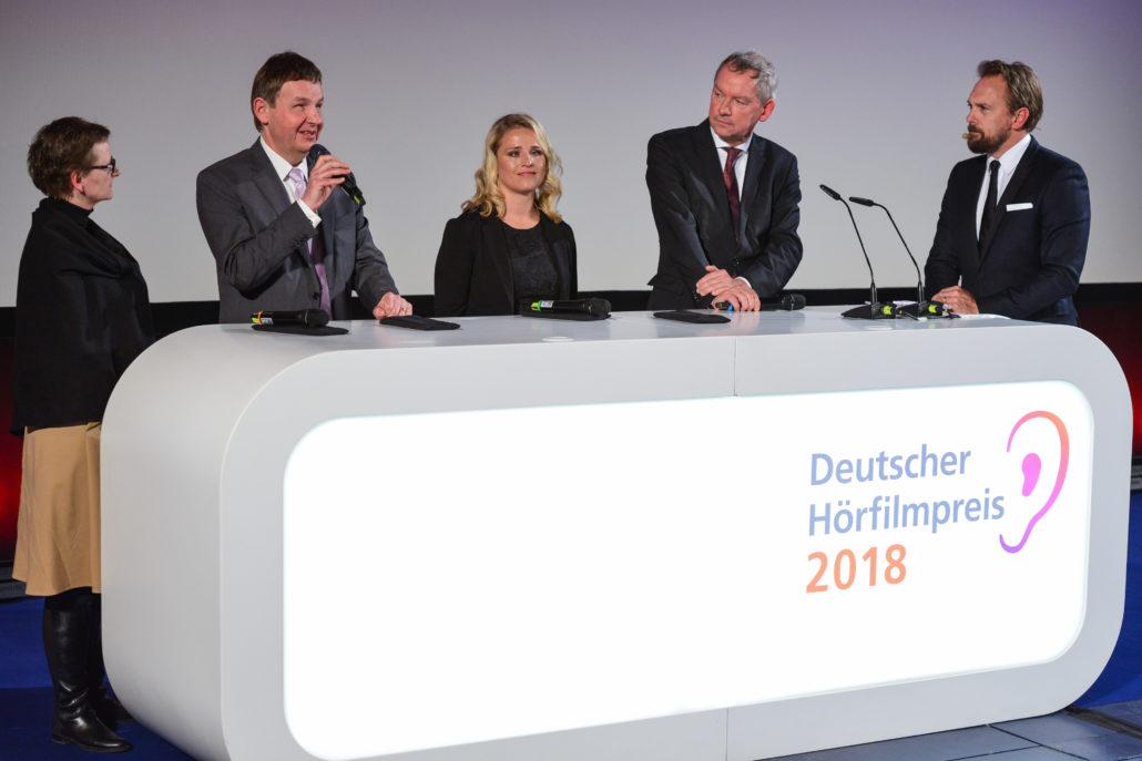 Christine Berg, Andreas Bethke, Verena Bentele, Lutz Marmor und Steven Gätjen beim 16. Deutschen Hörfilmpreis am 20. März 2018